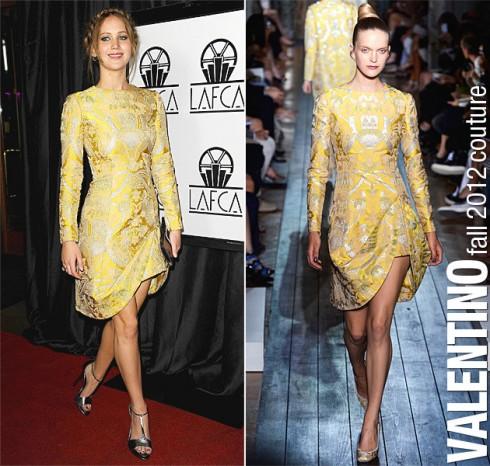 2013: Jennifer Lawrence trong thiết kế của Valentino, xuất hiện tại lễ trao giải Annual Los Angeles Film Critics Association lần thứ 38 .