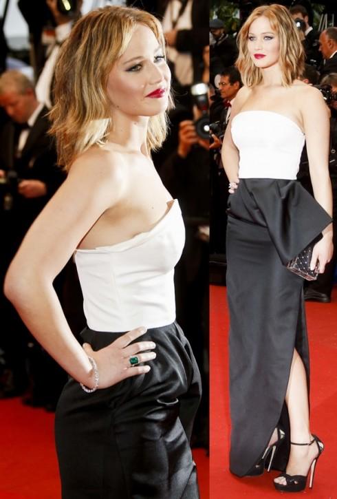 2013: Jennifer Lawrence cá tính trong mái tóc ngang vai và trang phục Christian Dior tại sự kiện festival Cannes.