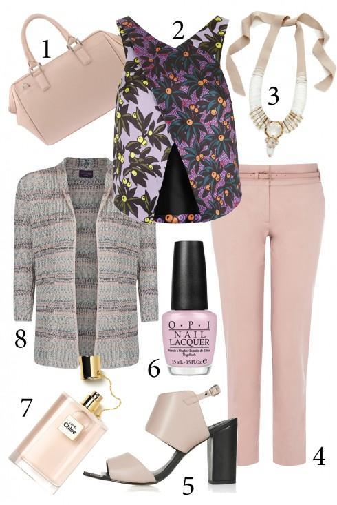 Chủ nhật: Kết hợp một chút họa tiết với màu sắc neutral sẽ khiến bộ đồ trở nên tinh tế và có điểm nhấn.<br/>1. PEDRO 2. TOPSHOP 3. ACCESSORIZE 4. WAREHOUSE 5. TOPSHOP 6. OPI 7. CHLOÉ 8. MANGO