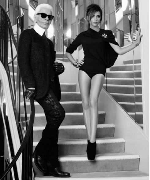 Năm 2012: Victoria chụp hình cùng  Karl Lagerfeld cho ELLE Pháp.