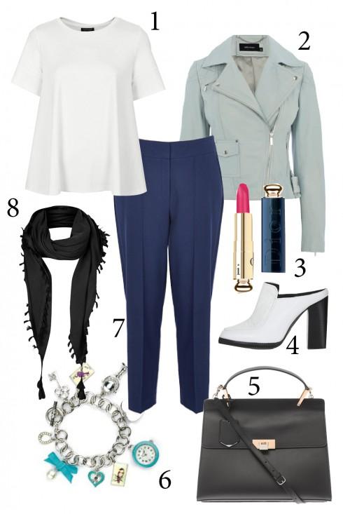 Thứ 2: Thể hiện cá tính năng động và trẻ trung bằng cách kết hợp khăn quàng nhẹ với quần vải, áo thun và blazer.<br/>1. TOPSHOP 2. KAREN MILLEN 3. DIOR 4. TOPSHOP 5. BALENCIAGA 6. ACCESSORIZE 7. KAREN MILLEN 8. TOPSHOP