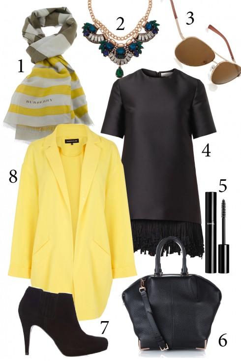 Thứ 6: Váy và áo khoác dài cho những bữa tiệc tối. Chiếc khăn cùng tông màu với áo khoác sẽ giúp bạn thêm nổi bật.<br/>1. BURBERRY 2. ACCESSORIZE 3. WAREHOUSE 4. STELLA MCCARTNEY 5. CHANEL 6. ALEXANDER WANG 7. KAREN MILLEN 8. WAREHOUSE