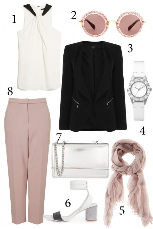 Thứ 5: Tông màu hồng trắng cho cô nàng yêu sự nữ tính. Chiếc khăn hồng nhạt sẽ giúp chiếc vest đen trong nhẹ nhàng và nữ tính hơn. <br/>1. MANGO 2. MIUMIU 3. OASIS 4. MBMJ 5. OASIS 6. PEDRO 7. CHARLES & KEITH 8. TOPSHOP
