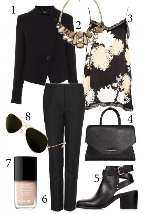 Thứ 3: Trang phục màu đen trung tính luôn tạo phong cách chic sang trọng. <br/>1. KAREN MILLEN 2. ACCESSORIZE 3. RIVER ISLAND 4. GIVENCHY 5. TOPSHOP 6. MANGO 7. CHANEL 8. RAY - BAN