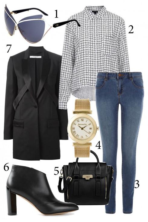 Thứ 2: Quần jeans, sơ mi và blazer cùng đôi bốt yêu thích cho phong cách trẻ trung, năng động.<br/>1. DIOR 2. TOPSHOP 3. WAREHOUSE 4. ACCESSORIZE 5. CHARLES &amp; KEITH 6. MBMJ