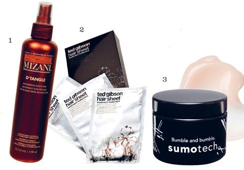 Sản phẩm: 1. Xịt dưỡng tóc D'Tangle MIZANI 2. Khăn giấy dưỡng tóc & tạo kiểu TED GIBSON 3. Sáp tạo kiểu Sumotech BUMBLE AND BUMBLE