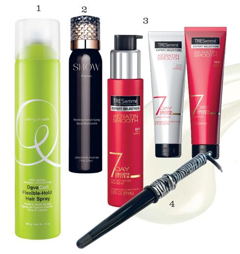 Sản phẩm: 1. Keo xịt dưỡng tóc DEVACURL 2. Keo xịt tạo độ phồng SHOW BEAUTY 3. Bộ sản phẩm làm mượt tóc 7 Day Keratin Smooth TRESEMMÉ 4. Máy tạo kiểu Glamour Wand CORIOLISS