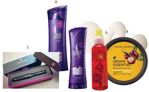 Sản phẩm: 1. Máy ép tóc The Touch CLOUD NINE 2. Dầu gội & xả cho tóc thẳng SUNSILK 3. Xịt dưỡng tóc INNISFREE 4. Kem ủ phục hồi Argan Essential NATURE REPUBLIC