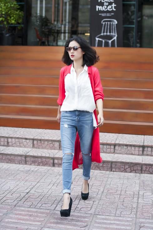 Áo sơmi, Quần jeans Topshop, Cardigan Palette
