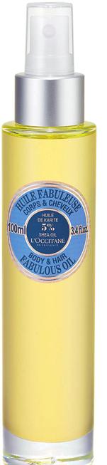 <strong>1. Dầu dưỡng thể và dưỡng tóc Body &amp; Hair Fabulous Oil của L'Occitane</strong><br/>Một sản phẩm đa dụng cho cả da và tóc, dầu Fabulous Oil của L'Occitane chứa 5% dầu bơ đậu mỡ và hỗn hợp dầu thực vật gồm dầu hoa hướng dương, cây baobab và hạt carrot. Được hấp thụ nhanh chóng vào da và tóc để tạo nên làn da mịn và mềm mại, mái tóc óng mượt, sản phẩm có mùi hương dịu nhẹ hoàn toàn không chứa các hóa chất độc hại như paraben, sulfate và phthalate.