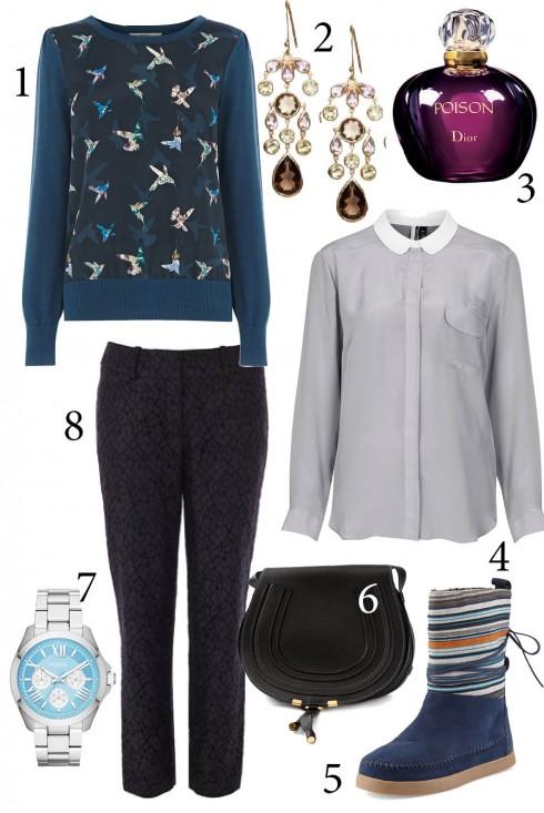 Thứ 7: Sweater kết hợp với áo sơmi là sự lựa chọn thoải mái nhưng cá tính cho ngày cuối tuần<br/>1. OASIS 2. ACCESSORIZE 3. DIOR 4. TOPSHOP 5. TOM'S 6. CHLÓE 7. TOPSHOP 8. KAREN MILLEN