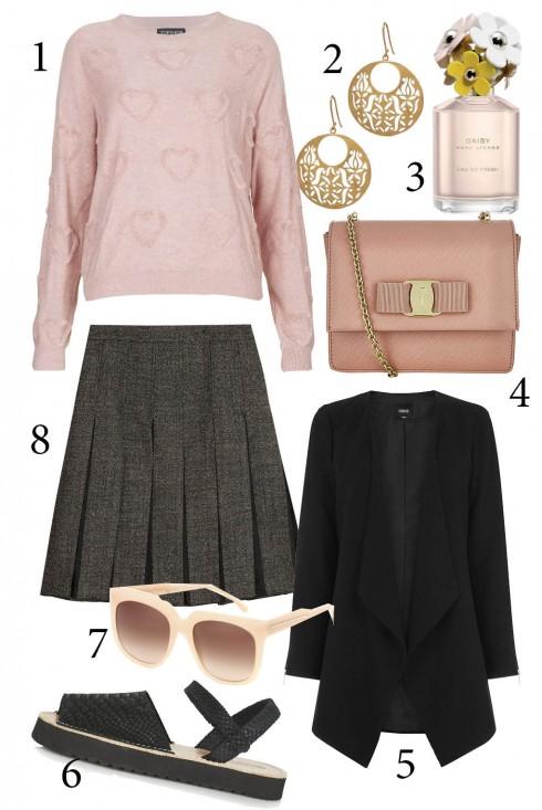 Thứ 4. Tông màu hồng nhẹ nhàng cùng cách mix chân váy đơn giản nhưng nữ tính. Bạn cũng có thể khoác thêm chiếc blazer để bộ trang phục thêm lịch sự và mạnh mẽ.<br/>1. TOPSHOP 2. ACCESSORIZE 3. MARC JACOBS 4. SALVATORE FERRAGAMO 5. OASIS 6. TOPSHOP 7. STELLA MCCARTNEY 8. MARNI