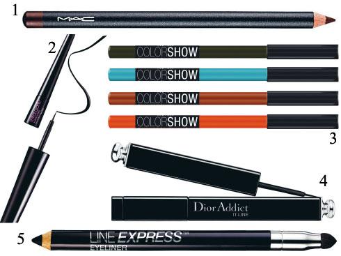 1. M.A.C<br> 2. Maybelline<br> 3. Chì kẻ mắt Color Show Maybelline <br> 4. Bút chì kẻ mắt Dior Addict Dior<br> 5. Line Express
