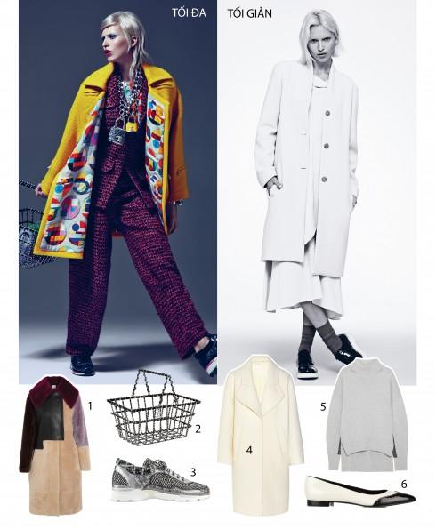 Trái: Trang phục và phụ kiện Chanel - Phải: Áo len, váy, áo khoác THE ROW; Giày PUBLIC SCHOOL; Vớ DKNY