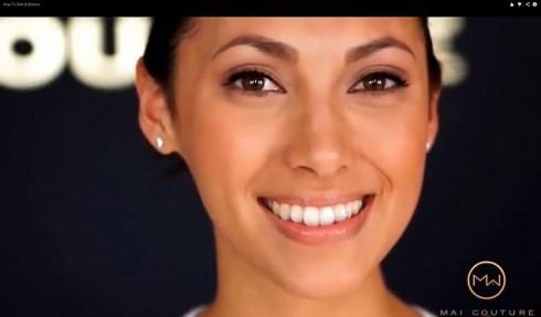 Gương mặt cô người mẫu sau khi được trang điểm bằng loại giấy Mai Couture