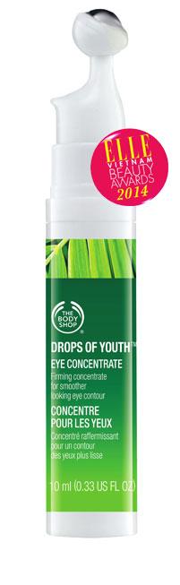 <strong>8. THE BODY SHOP DROPS OF YOUTH EYE CONCENTRATE</strong><br/>Tinh chất cô đặc chăm sóc vùng da quanh mắt hiệu quả từ tế bào gốc của hoa nhung tuyết, giúp phát triển khả năng tự tái tạo và phục hồi của da. Sau 28 ngày sử dụng, các vết chân chim giảm rõ rệt, da đàn hồi và đều màu hơn. Kết cấu sản phẩm thấm cực nhanh, mang lại độ ẩm cao mà không hề nhờn rít. Đôi mắt tươi trẻ rạng rỡ trở lại như thời thanh xuân. <br>Giá: 739.000 VNĐ/10 ml.