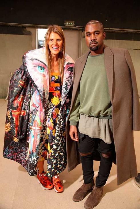 Anna Dello Russo & Kanye West tại show Celine