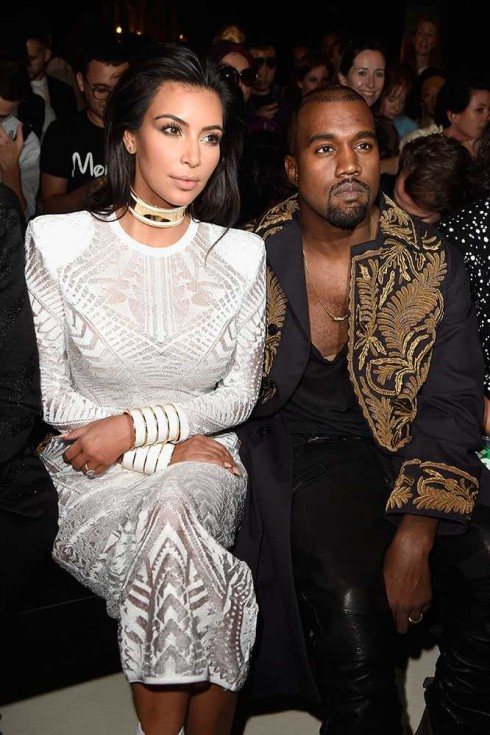 Kanye West & Kim Kardashian tại show Balmain