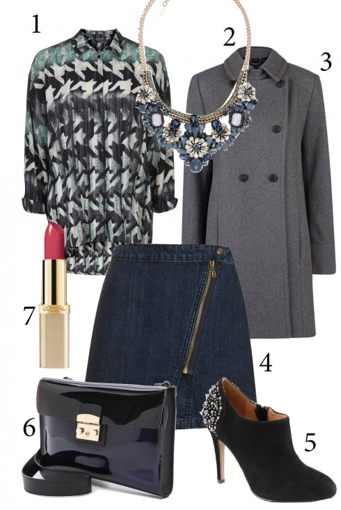 Chủ nhật: Áo họa tiết kết hợp với chân váy ngắn sành điệu<br/>1.TOPSHOP 2. ACCESSORIZE 3. MANGO 4. TOPSHOP 5. ALDO 6. FURLA 7. L'OREAL