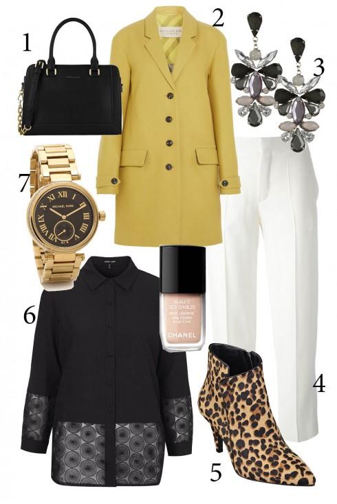 Thứ 3: Cho ngày đi làm tươi vui với áo khoác dài sáng màu kết hợp cùng bốt da báo sành điệu.<br/>1. CHARLES &amp; KEITH 2. BURBERRY 3. ACCESSORIZE 4. CHLÓE 5. NINE WEST 6. TOPSHOP 7. MICHAEL KORS