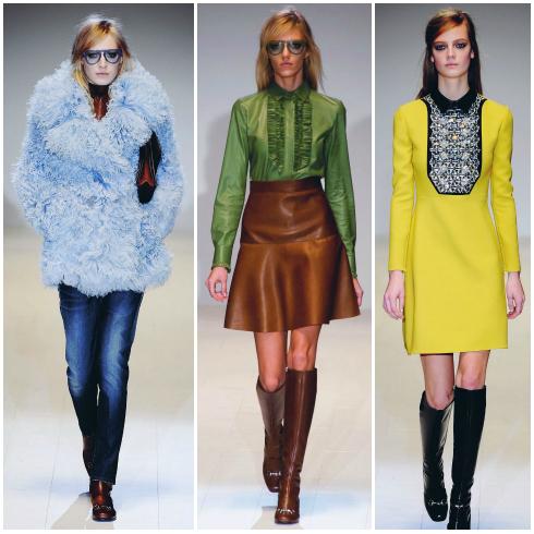 Bộ sưu tập Thu - Đông 2014-2015 của Gucci là kết quả của những xu hướng thời trang từ thập niên 60, từ boots cao tới gối tới đôi mắt kính phi công. Mái tóc chải tạm và buộc hờ phần trên hài hòa cùng một gương mặt tối giản.
