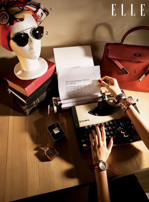 1.Khăn choàng Hermès 2.Kính mát Dior 3.Túi xách Kelly Hermès 4.Vòng tay Hermès 5.Đồng hồ Chopard