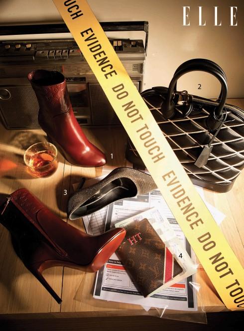 1.Giày bốt Louis Vuitton 2.Túi xách Louis Vuitton 3.Giày Saint Laurent (Runway, Vincom B) 4.Vỏ bọc passport Louis Vuitton