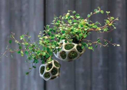 """Cellar - bình trồng cây của tương lai <br/>Bình treo ngộ nghĩnh trông như một mảng mô này được làm từ chất liệu nhựa nhẹ, đựng rêu và cây với mục đích mang cây xanh vào cuộc sống đô thị. Sản phẩm có tên Cellar, được phát triển từ dự án """"Mosspebble"""" tại trường Thiết kế sau ĐH Harvard. Rêu không cần có đất, chúng lấy dưỡng chất trực tiếp từ không khí và trở thành nguồn cung cấp dưỡng chất cho cây. Chính vì thế, bình đựng Cellar trở thành một """"hệ sinh thái kín"""" không cần đất, tiết kiệm không gian vì có thể treo lên cao và không cần quá nhiều công sức chăm sóc."""