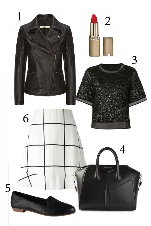 Thứ 3: Phong cách punk rock mạnh mẽ với chân váy ngắn kết hợp áo khoác da<br/>1. OASIS 2. L'ORÉAL 3. GIAMBATTISTA VALLI 4. GIVENCHY 5. ALDO 6. CHLÓE