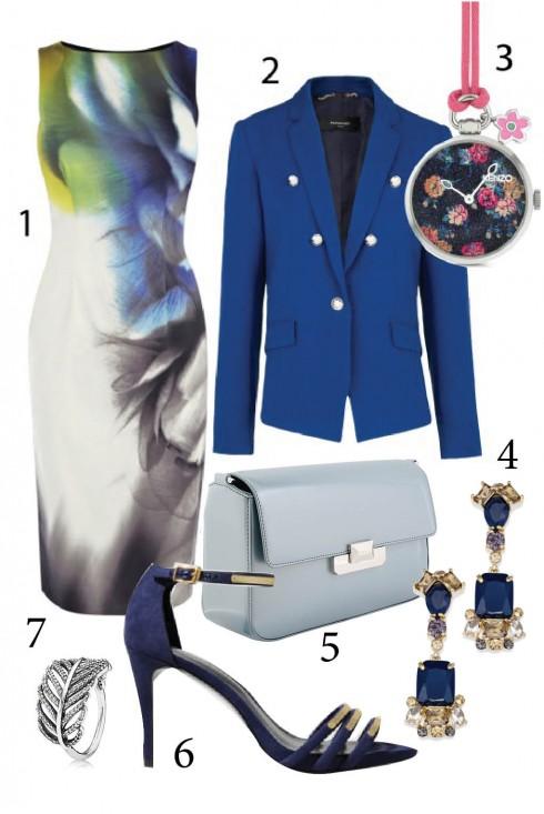 Thứ 2: Thanh lịch với đầm ôm kết hợp áo blazer cho ngày đầu tuần<br/> 1.KAREN MILLEN 2.MANGO 3.KENZO 4. KATE SPADE  5. PEDRO 6.CHARLES&KEITH 7. PANDORA