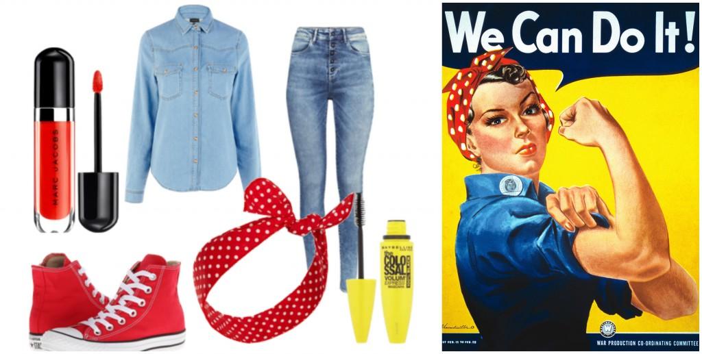 Để hóa thành cô công nhân trong các nhà máy thời Chiến tranh Thế giới II vừa cần cù lại mạnh mẽ, bạn sẽ cần đến một chiếc áo denim xắn tay, một quần denim bạc màu, một đôi giầy Converse trắng cùng một chiếc khăn turban đỏ chấm bi trắng.