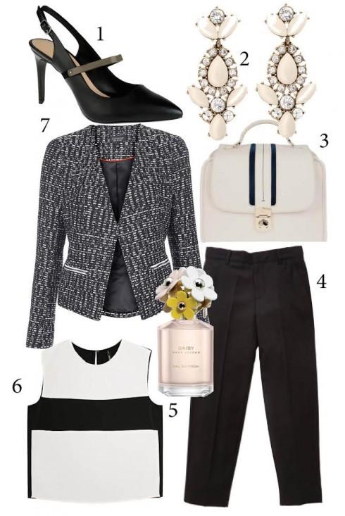 Thứ 3: Áo blazer có phần eo gọn tăng phần nữ tính và lịch sự cho bộ trang phục. Thêm  phụ kiện như chiếc bông tai nổi bật sẽ khiến trang phục công sở tông màu đen trắng có thêm điểm nhấn.<br/>1. CHARLES &amp; KEITH 2. ACCESSORIZE 3. PEDRO 4. MARKS &amp; SPENCER 5. MARC JACOBS 6. MANGO 7. TOPSHOP
