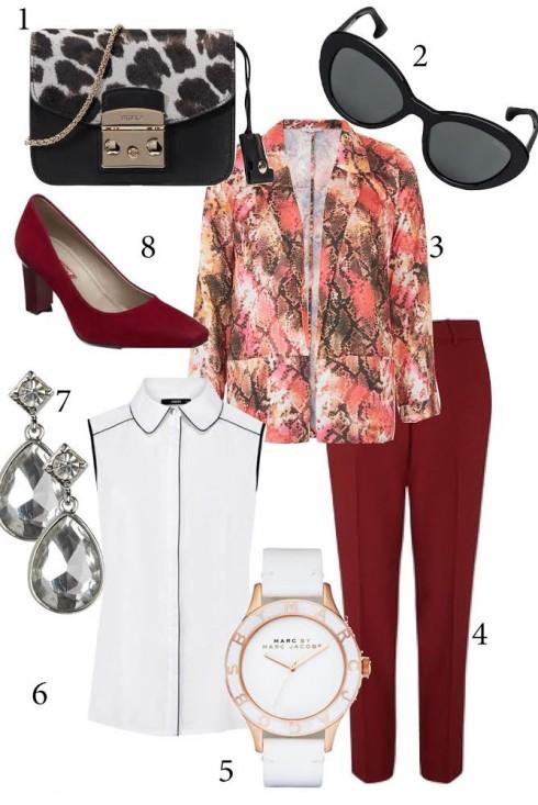 Thứ 4: Nếu bạn là cô nàng sành điệu thích nổi bật, hãy chọn những chiếc áo blazer họa tiết.<br/>1. FURLA 2. PRADA 3. TOPSHOP 4. WAREHOUSE 5. MBMJ 6. OASIS 7. ACCESSORIZE 8. ECCO