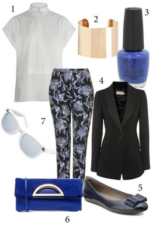 Chủ nhật:Quần in hoa + áo somi trắng đơn giản + blazer đen  - công thức đơn giản biến bạn thành cô nàng năng động và phong cách.<br/>1. WAREHOUSE 2. MANGO 3. O.P.I 4. KAREN MILLEN 5. ECCO 6. ALDO 7. TOPSHOP 8. TOPSHOP