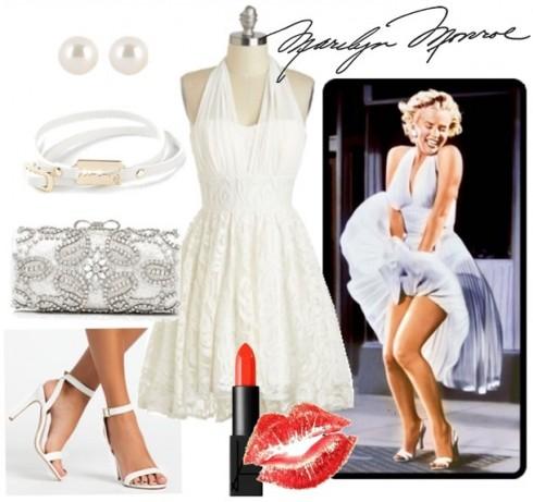 Hóa thân thành Marilyn Monroe với chiếc đầm trắng.