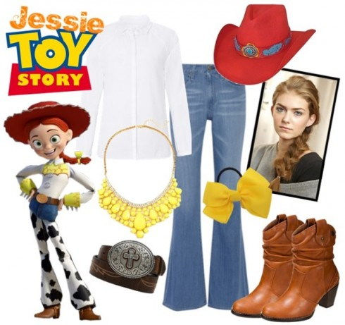 Quần ống loe, bốt và nón như Jessie trong Toy Story.