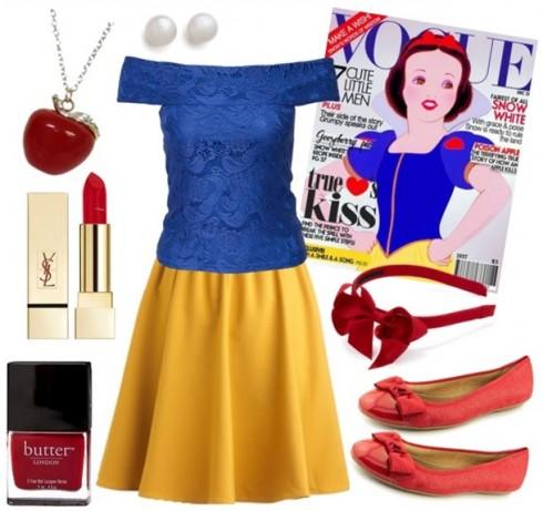 Chọn áo cách điệu xanh & chân váy vàng nếu bạn yêu thích Nàng Bạch Tuyết