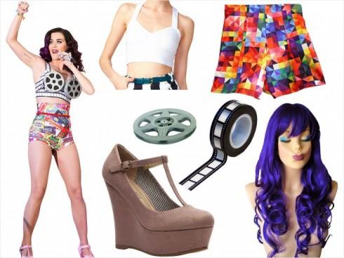 Trang trí lại chiếc áo crop top và mái tóc tím nổi bật như Katy Perry