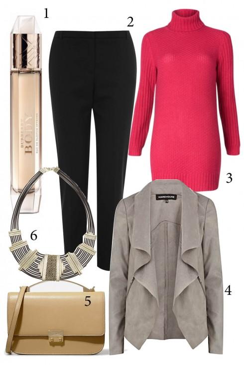 Thứ 2: Rực rỡ đầu tuần với áo len màu hồng tươi trẻ. Đừng quên hương thơm yêu thích của mình để khởi đầu tuần mới đầy thuận lợi nhé!<br/>1. BURBERRY 2. OASIS 3. MANGO 4. WAREHOUSE 5. CHARLES &amp; KEITH 6. ACCESSORIZE