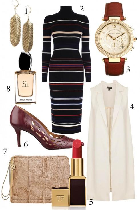 Thứ 6: Duyên dáng với váy len ôm tôn đường cong của bạn<br/>1. MANGO 2. KAREN MILLEN 3. MICHEAL KORS 4. TOPSHOP 5. TOM FORD 6. NINE WEST 7. FURLA 8. GIORGIO ARMANI