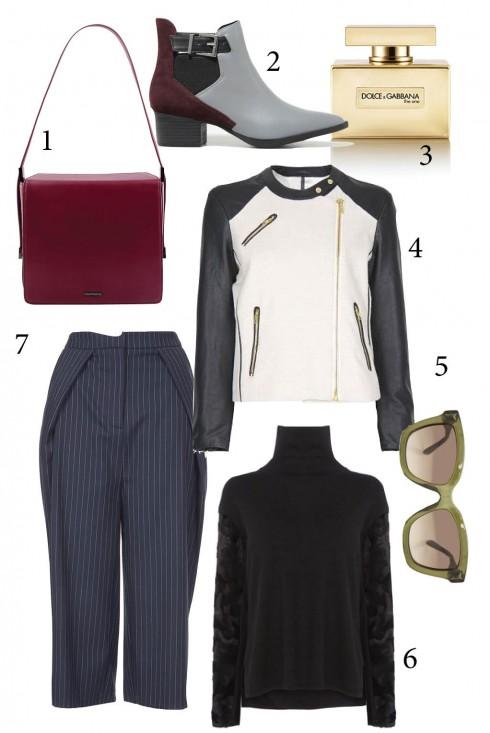 Chủ nhật: Quần culotte thời thượng kết hợp với áo len và áo jacket<br/>1. PEDRO 2. CHARLES &amp; KEITH 3. DOLCE &amp; GABBANA 4. MANGO 5. VALENTINO 6. KAREN MILLEN 7. TOPSHOP