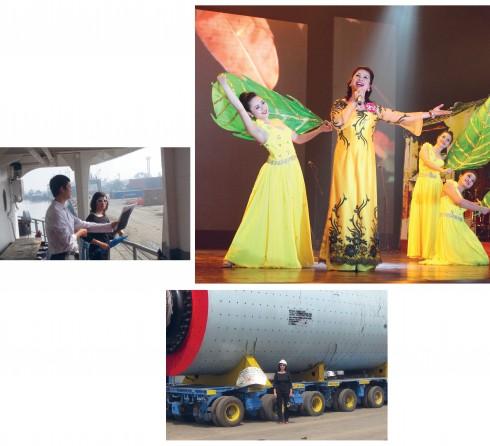 Dù ngoài bến cảng điều hành công việc hay trên sân khấu biểu diễn, chị Minh Hạnh đều là một ngôi sao tỏa sáng