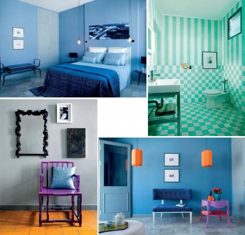 Phòng ngủ mang hơi thở thập niên 50 với chăn nhung cotton Carlotta, ghế dài Isis và phòng tắm trang trí họa tiết kiểu bàn cờ trên nền màu pastel.