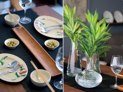 Trên bàn ăn, chủ nhân đã cất công tậu được những chiếc đĩa bình dân trong một chuyến đi chợ nổi Long Xuyên, khi về Sài Gòn, chúng song hành với bát gốm Authentique, lọ thủy tinh Gò Vấp và khay gỗ Thái Lan.