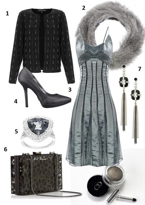 Chủ nhật: Lộng lẫy trong những bữa tiệc tối với đầm hai dây ánh kim, giày cao gót và trang sức quý phái<br/>1. WAREHOUSE 2. OASIS  3.  LNKK  4. NINE WEST 5.  SWAROVSKI 6. COAST 7.  NASTY GAL