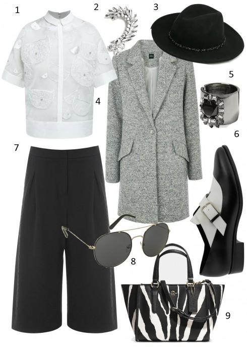 Thứ 7: Một phong cách rất cool với quần culottes và nón fedora<br/>1. RUE DES CHATS 2. MANGO 3. MANGO  4. OASIS 5. BANANA REPUBLIC 6.  CHARLES &amp; KEITH 7. WAREHOUSE 8. TOPSHOP 9. COACH