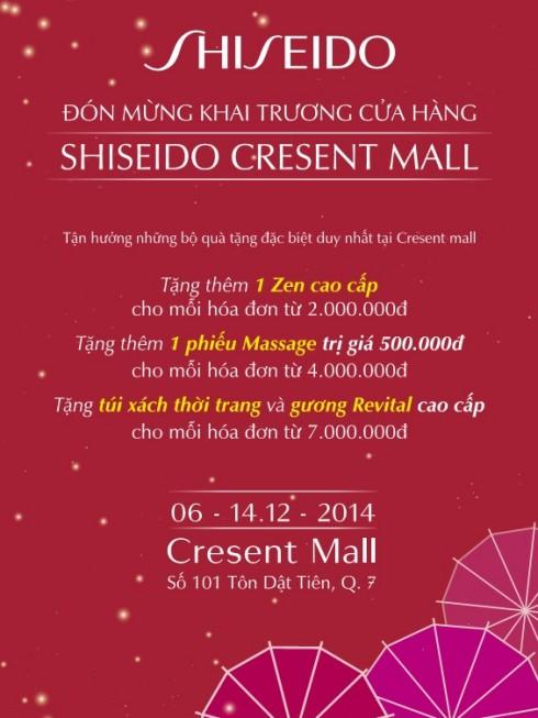 khuyen mai khai truong cua hang Shiseido @Crescent
