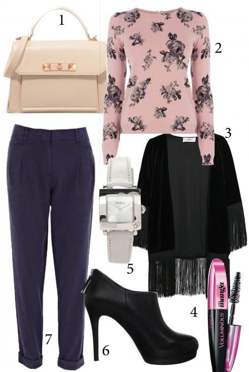 Thứ 3: Kết hợp áo len mỏng họa tiết hoa với áo khoác kimono cho những ngày giao mùa<br/>1. CHARLES &amp; KEITH 2. OASIS 3. MANGO 4. L'OREAL 5. FURLA 6. NINE WEST 7. WAREHOUSE