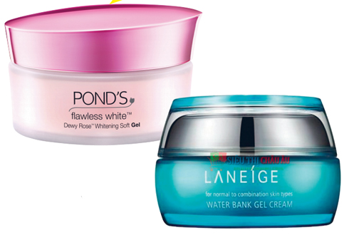 1. Kem dưỡng  ẩm làm trắng da  dạng gel POND'S  2. Water bank gel  cream LANEIGE