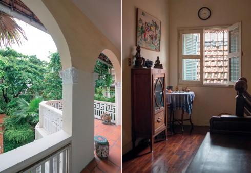 Cửa sổ mở ra ánh sáng dìu dịu nơi hành lang, mang đến một không gian đầy hoài niệm.